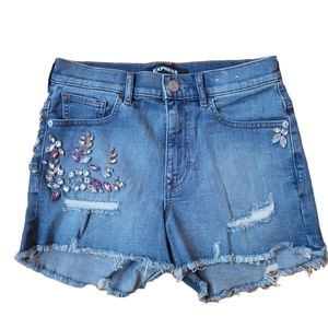 Express Embroidered Higher Rise Shorts Size 0